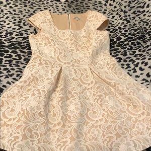Tan w/ lace white flowers